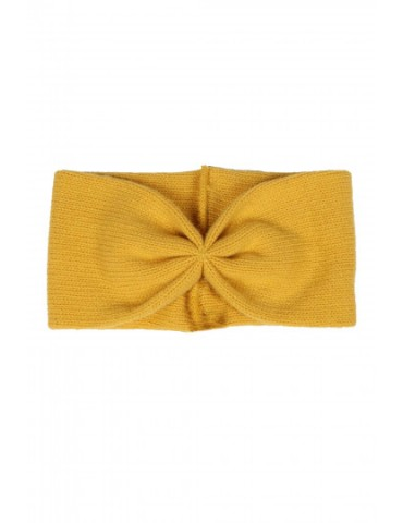 Zwillingsherz Stirnband mit Kaschmir senf gelb kurkuma uni