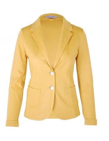 Esvivid Bequemer Sportlicher Jersey Blazer tailliert senf gelb uni