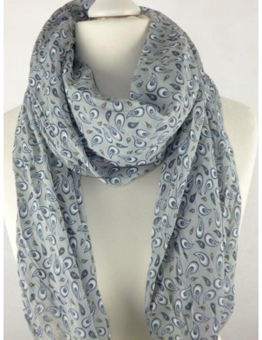 Schal Tuch Loop Made in Italy Seide Baumwolle hellgrau grau blau weiß Paisly