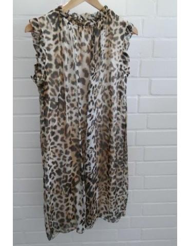 ESViViD Damen Kleid Tunika Seide schwarz - braun creme Leo Onesize ca. 36 - 42
