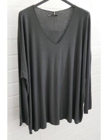 Damen Basic Shirt langarm anthrazit grau uni mit Viskose Onesize ca. 38 - 46