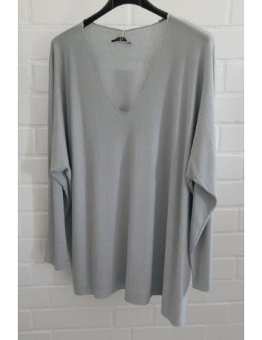 Damen Basic Shirt langarm hellgrau grau uni mit Viskose Onesize ca. 38 - 46