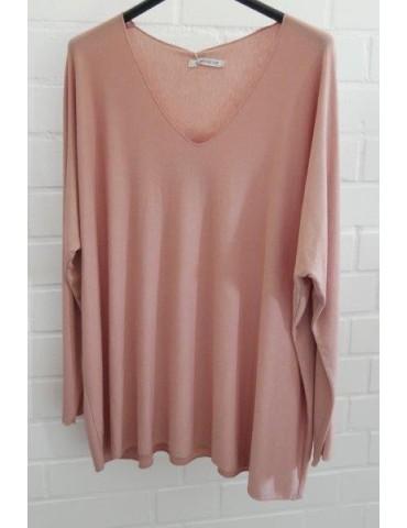 Damen Basic Shirt langarm lachs rose uni mit Viskose Onesize ca. 38 - 46