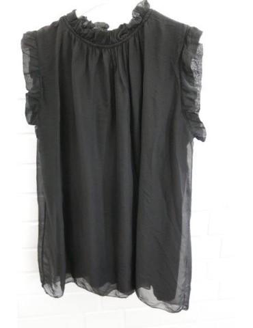 ESViViD Damen Top Shirt 2873 schwarz black Seide Viskose Onesize 36 - 42