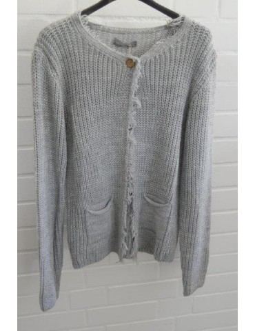 Damen Strick Jacke Patent hellgrau grau Onesize 36 - 42 mit Wolle