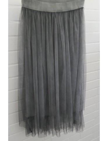Damen Tüll Rock grau verwaschen Onesize ca. 38 - 42 Blogger Style