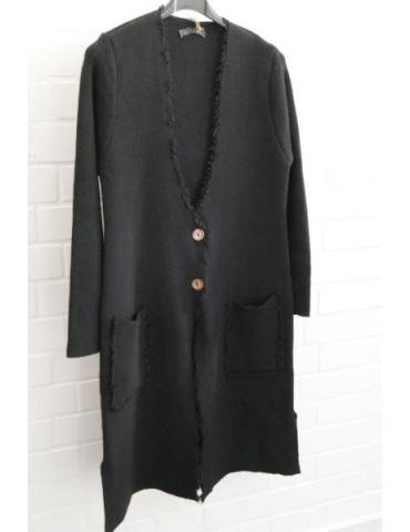 Damen Strick Mantel Jacke schwarz Fransen Onesize ca. 36 - 42 mit Wolle