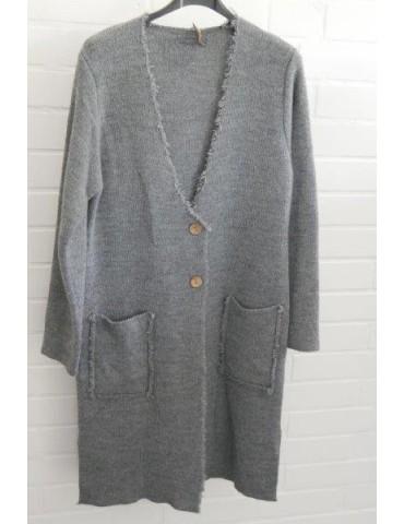Damen Strick Mantel Jacke grau grey Fransen Onesize ca. 36 - 42 mit Wolle