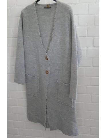 Damen Strick Mantel Jacke hellgrau grau Fransen Onesize ca. 36 - 42 mit Wolle