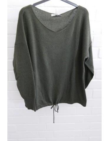 Selected Touch Damen Strick Pullover oliv grün khaki mit Kaschmir Onesize ca. 38 - 44