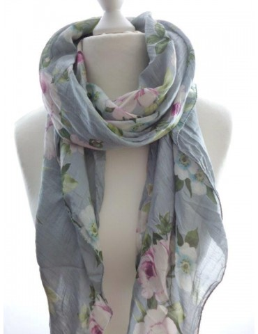 Schal Tuch Loop Made in Italy Seide Baumwolle hellgrau grün creme pink bunt Blumen