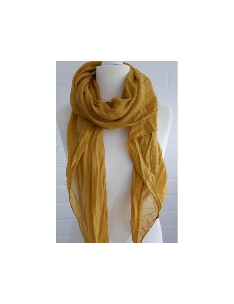 Schal Tuch Loop Made in Italy Seide Baumwolle senf gelb kurkuma uni