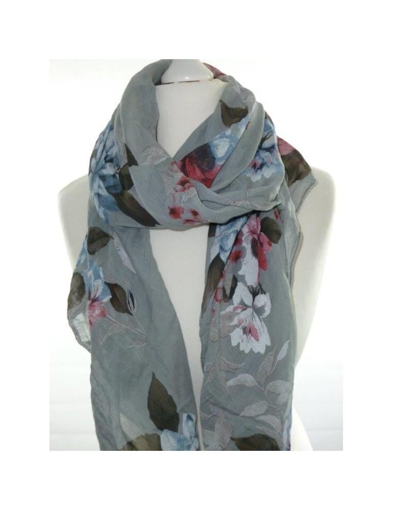 Schal Tuch Loop Made in Italy Seide Baumwolle hellgrau rot blau weiß Blumen