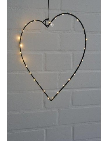 Leucht Herz Metall Fenster schwarz black Adventszeit LED