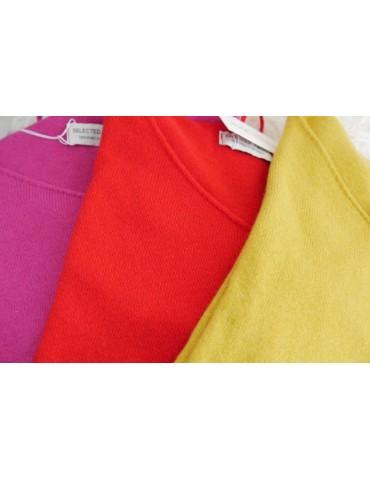Selected Touch Damen Strick Pullover senf gelb mit Kaschmir Onesize ca. 38 - 44
