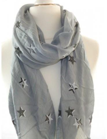 Schal Tuch Loop Made in Italy Seide Baumwolle hellgrau grau schwarz weiß Sterne