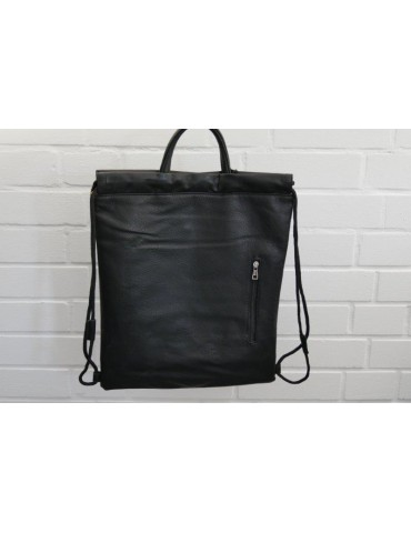 Damen Rucksack Tasche schwarz black uni Blogger Style