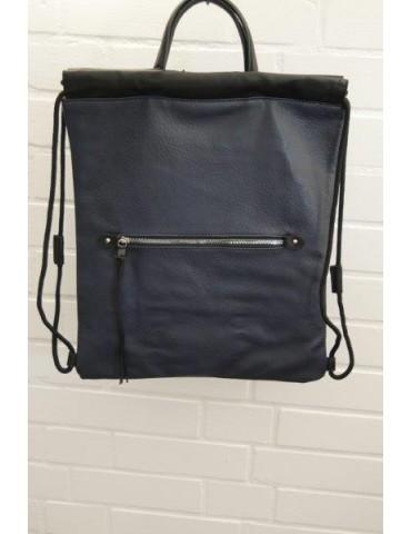 Damen Rucksack Tasche dunkelblau schwarz uni Blogger Style