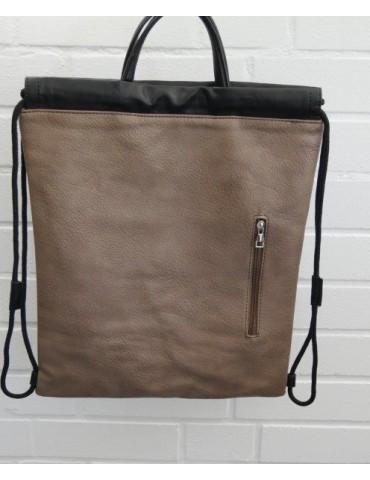Damen Rucksack Tasche beige schwarz uni Blogger Style