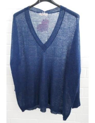 Leichter Strick Pullover dunkelblau blau uni Onesize 38 - 46 mit Alpaka
