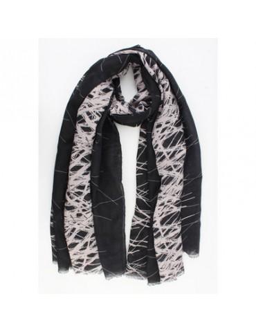 Leichter Damen Schal schwarz creme Muster Viskose Baumwolle