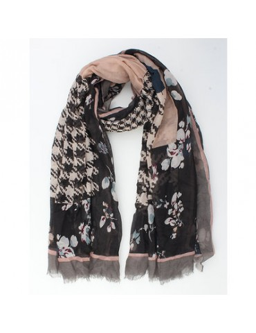 Leichter Damen Schal Tuch schwarz grau rose bunt Blumen Hahnentritt