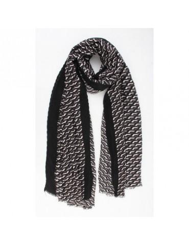 Leichter Damen Schal Tuch schwarz grau creme Plissee
