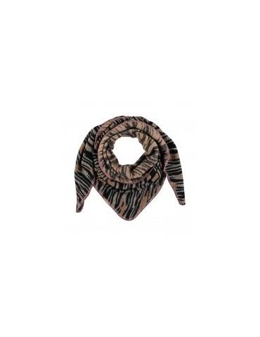 A- Zone Damen Dreieckstuch Schal schwarz hellgrau beige rose Tiger