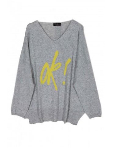 "Zwillingsherz Oversize Pullover hellgrau gelb ""OK"" mit Kaschmir Gr. L XL"
