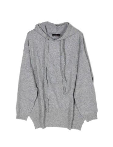 Zwillingsherz Oversize Pullover Hoody hellgrau mit Kaschmir Gr. 38 - 44