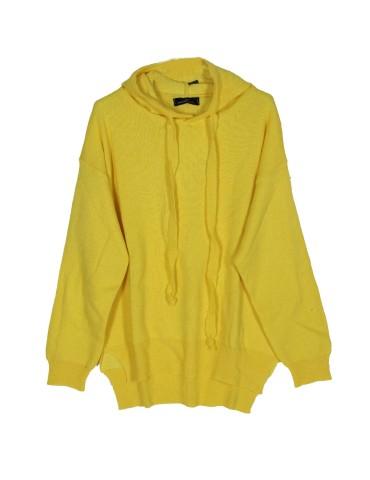 Zwillingsherz Oversize Pullover Hoody gelb mit Kaschmir Gr. 38 - 44