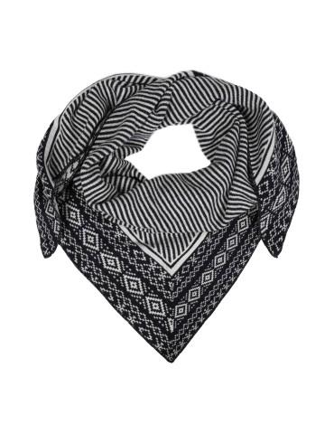Zwillingsherz Dreieckstuch Schal dunkelblau creme Muster mit Kaschmir