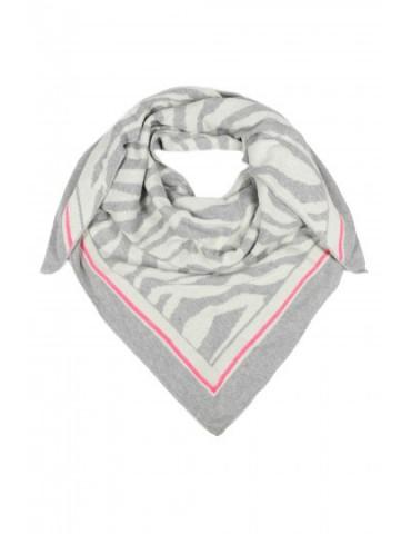 Zwillingsherz Dreieckstuch Schal hellgrau creme pink Tiger mit Kaschmir
