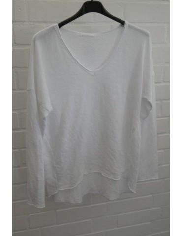 Damen Sweat Shirt langarm weiß mit Baumwolle Onesize 38 - 42