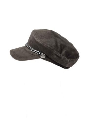 Schieber Mütze Kappe taupe braun Samt uni mit Kette