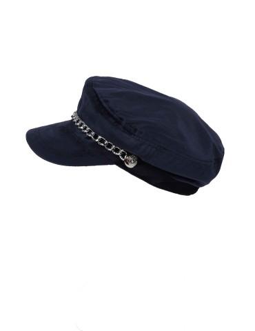 Schieber Mütze Kappe dunkelblau marine Samt uni mit Kette