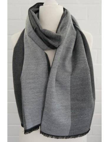 Herren Schal Tuch anthrazit grau hellgrau Streifen Viskose Wolle