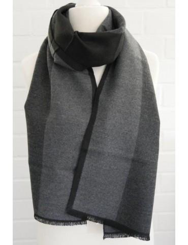 Herren Schal Tuch schwarz anthrazit grau Streifen Viskose Wolle