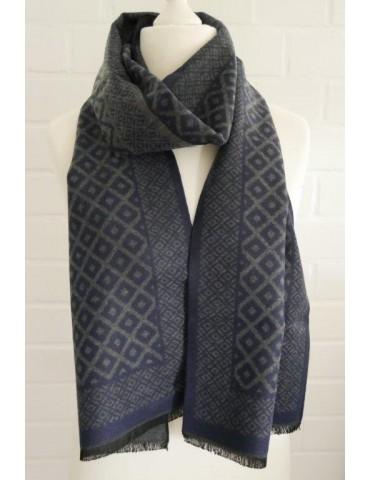 Herren Schal Tuch dunkelblau grau Karo Viskose Wolle