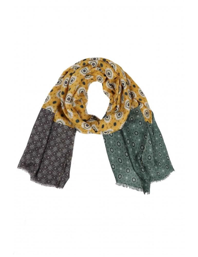 Modern und elegant in der Mode große Vielfalt Modelle heißer verkauf authentisch Leichter Damen Schal Tuch senfgelb grün grau Ornamente