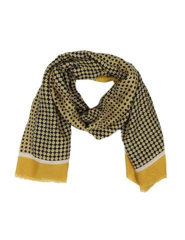 Leichter Damen Schal Tuch senf gelb creme dunkelblau Rauten