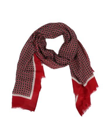Leichter Damen Schal Tuch rot dunkelblau creme Rauten