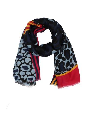Leichter Damen Schal Tuch dunkelblau schwarz pink gelb bunt Leo Streifen