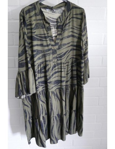 Damen Tunika Kleid A-Form khaki schwarz Zebra Onesize ca. 36 - 42 Made in Italy
