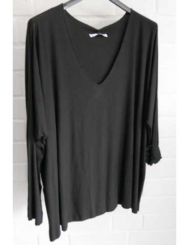 Damen Basic Shirt langarm schwarz uni mit Viskose Onesize ca. 38 - 46