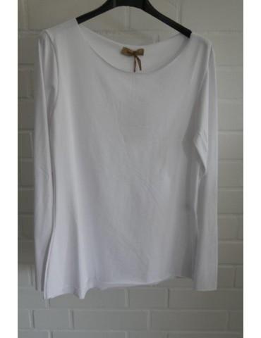 Damen Shirt langarm weiß mit Baumwolle Onesize 36 38