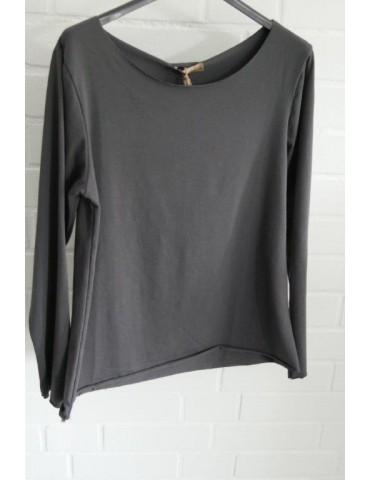 Damen Shirt langarm anthrazit grau mit Baumwolle Onesize 36 38