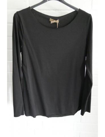Damen Shirt langarm schwarz black mit Baumwolle Onesize 36 38
