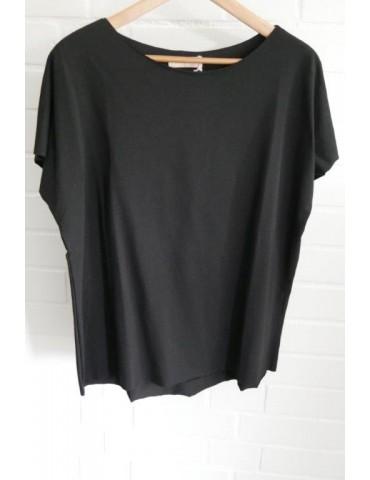 Damen Shirt kurzarm schwarz black mit Baumwolle Onesize 38 - 44