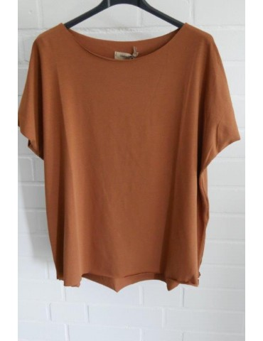 Lindsay Damen Shirt kurzarm cognac braun mit Baumwolle Onesize 38 - 44